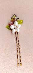 Pearl flower and glass leaves Bridal Hair Pin