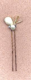 Shell Pearl and Crystal Hair Pin