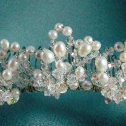 "Ornate tiara comb with complex design of clusters of Freshwater Pearls, Swarovski crystal on 5 1/2"" comb by Damselfly Studio"