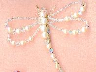 AB Swarovski Crystal  and Pearl Dragonfly Pin