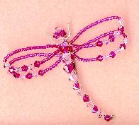 Fuschia and Lt Rose Dragonfly Pin