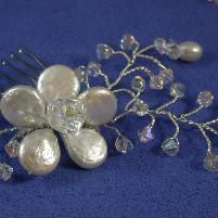 Floral Bridal comb with Swarovski Crystal tipped vines by Damselfly Studio
