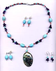 Turquoise, Paua Abalone, Amethyst, Swarovski Crystal and Sterling accents