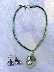 Hannah Silk Cord necklace with Beach Glass Pendant, cascade of Abalone and amethyst pendants, shown with matching earrings