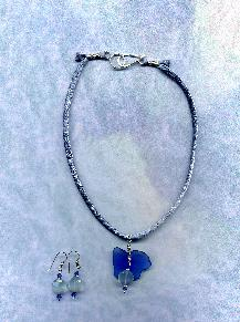 Hand dyed Hannah Silk cord with rare Cobalt Blue Beach Glass and Chalcedony pendant.  Matching earrings