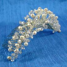 Freshwater Pearl Swarovski Crystal Bridal Comb, Bridal Tiara, Wedding Accessories, Bridal Headpiece, French Twist Comb, classic, modern, sterling silver, Damselfly Studio