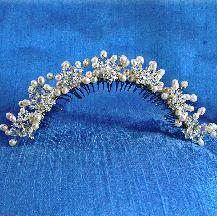 Damselfly Studio, Bridal comb bridal tiara, wedding accessories,bridal headpiece, pearl crystal tiara, bridal comb