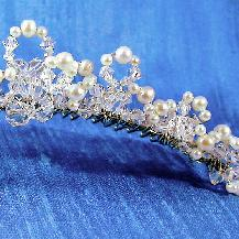 Swarovski Crystal loops tipped with Freshwater pearls on a 30 tooth metal comb, bridal tiara designed by Damselfly Studio