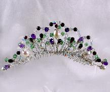 Gemstone and Freshwater Pearl Tiara, in a Rennaisance Gothic style, made of gemstones and freshwater pearls.