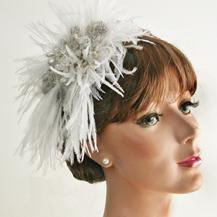 Feather and Gemstone Fascinator, Vintage look, Wedding Hat, Bridal Fascinator