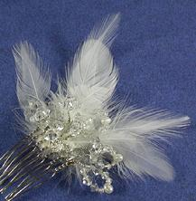 Feather and Swarovski Crystal, Freshwater Pearl mini comb