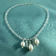 Pearl Pear drop and Swarovski Crystal Necklace
