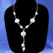 Rare Large Coin Pearl and 8 mm Pearl Swarovkski Crystal Necklace by Damselfy Studio