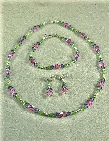 Swarovski Crystal and Sterling silver necklace, bracelet and earring set