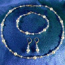 Damselfly Studio, illusion style jewelry, Freshwater Pearl and Swarovski Crystal Jewelry, Bridal Jewelry Set, Bracelet, Necklace and Earring Set, Pearl and Crystal Bridal jewelry, wedding accessories