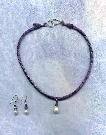 Hand dyed Hannah Silk cord, with Large Freshwater Pearl, Iolite and Amethyst Pendant,