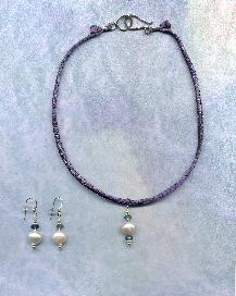 Hannah Silk cord necklace, with 9 mm pillow pearl, iolite rondells, sterling silver accents