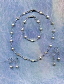 Damselfly Studio Design Classic Freshwater Pearl and Swarovski Crystal Necklace, Earring and Bracelet set for Wedding, Special Occasion, Prom