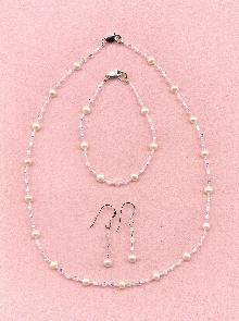 Freshwater Pearl and Swarovski Crystal Necklace and Earrings