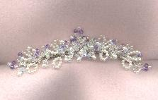 Loops of Freshwater Pearls, Crystal with Amethyst on bridal comb