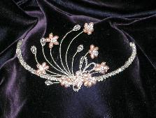 Damselfly Headpiece Freshwater Pearls and Swarovski Crystal