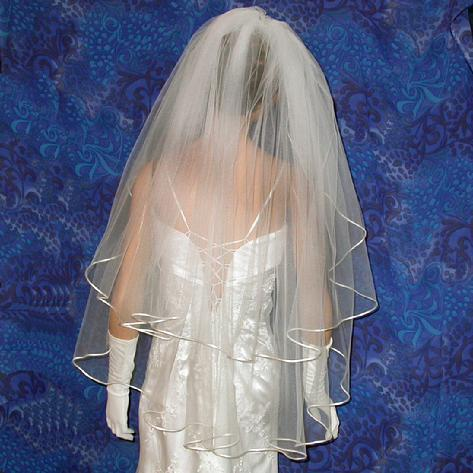 bridal wedding veil two tier with satin cord, finger tip