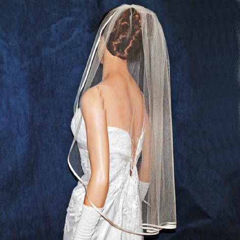 Silk tulle Wedding Bridal Veil with Ribbon Edge